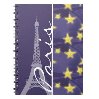 Noche estrellada de París; Torre Eiffel Libro De Apuntes Con Espiral