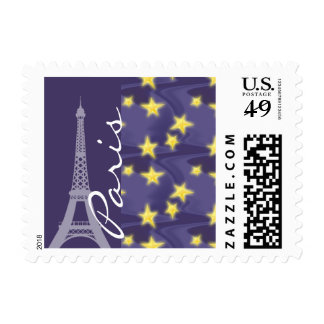 Noche estrellada de París; Torre Eiffel Timbre Postal