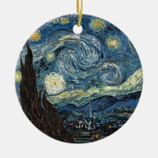 Noche estrellada de Van Gogh Adorno Navideño Redondo De Cerámica