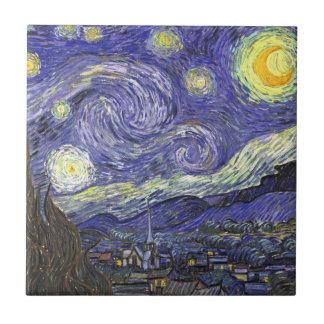 Noche estrellada de Van Gogh, arte del paisaje del Azulejo Cuadrado Pequeño