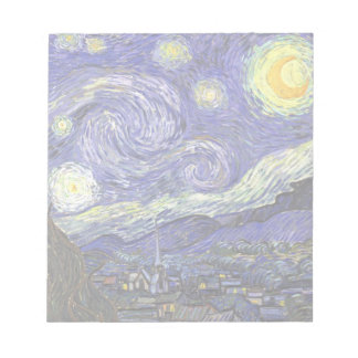 Noche estrellada de Van Gogh, arte del paisaje del Blocs De Notas