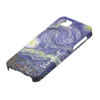 Noche estrellada de Van Gogh, arte del paisaje del iPhone 5 Case-Mate Cobertura