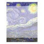 Noche estrellada de Van Gogh, arte del paisaje del Membretes Personalizados