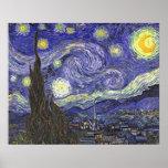Noche estrellada de Van Gogh, arte del paisaje del Poster