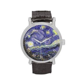 Noche estrellada de Van Gogh, arte del paisaje del Reloj