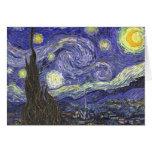 Noche estrellada de Van Gogh, arte del paisaje del Tarjetón