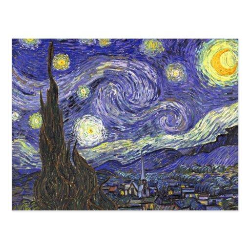 Noche estrellada de Van Gogh, arte del paisaje del Postal