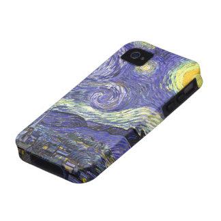 Noche estrellada de Van Gogh, impresionismo del iPhone 4 Carcasa