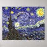 Noche estrellada de Van Gogh, impresionismo del po Poster