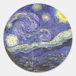 Noche estrellada de Van Gogh, impresionismo del po Pegatina