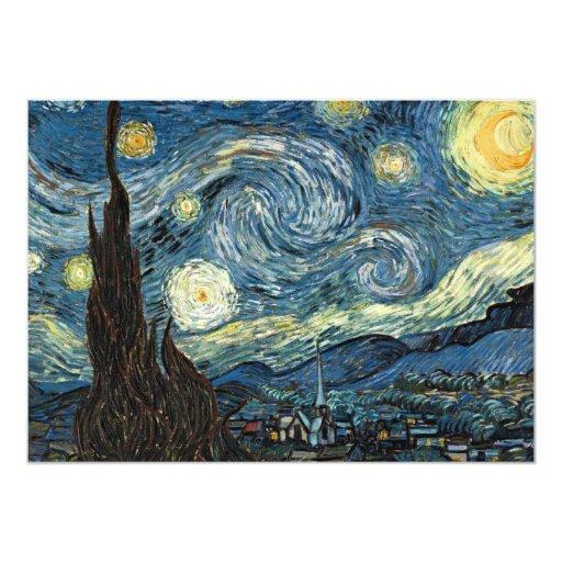 Noche estrellada de Van Gogh Invitación 12,7 X 17,8 Cm