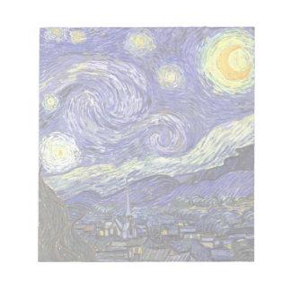 Noche estrellada de Van Gogh, paisaje de la bella Bloc De Notas