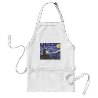 Noche estrellada de Van Gogh, paisaje de la bella Delantal