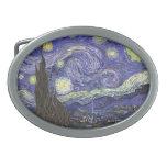 Noche estrellada de Van Gogh, paisaje de la bella Hebilla Cinturón Oval