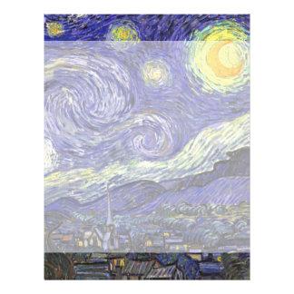Noche estrellada de Van Gogh, paisaje de la bella Membretes Personalizados