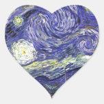 Noche estrellada de Van Gogh Pegatina De Corazón Personalizadas