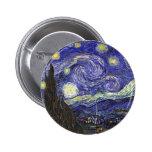 Noche estrellada de Van Gogh Pin Redondo De 2 Pulgadas