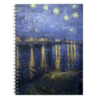 Noche estrellada de Van Gogh sobre el Rhone Libro De Apuntes Con Espiral