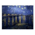 Noche estrellada de Van Gogh sobre el Rhone Postal