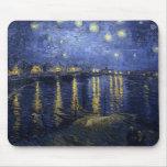 Noche estrellada de Van Gogh sobre el Rhone Alfombrillas De Ratones