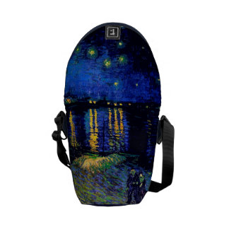 Noche estrellada de Van Gogh sobre la bella arte d Bolsas De Mensajeria