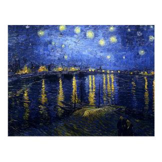 Noche estrellada de Van Gogh sobre la postal de Rh