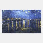 Noche estrellada de Van Gogh sobre los pegatinas Rectangular Altavoz