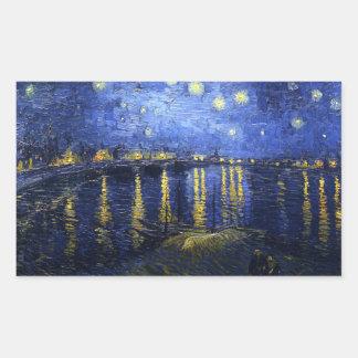 Noche estrellada de Van Gogh sobre los pegatinas Pegatina Rectangular