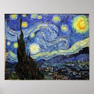 Noche estrellada de Vincent van Gogh 1889 Poster