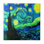 Noche estrellada de Vincent van Gogh aumentada Azulejo Cerámica