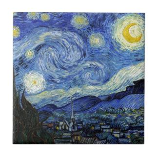 Noche estrellada de Vincent van Gogh Azulejo Cuadrado Pequeño