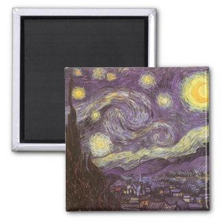 Noche estrellada de Vincent van Gogh, bella arte Imán Cuadrado