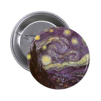 Noche estrellada de Vincent van Gogh, bella arte Chapa Redonda 5 Cm