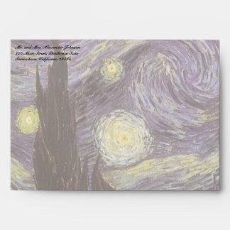 Noche estrellada de Vincent van Gogh, bella arte Sobres