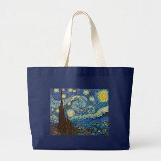 Noche estrellada de Vincent van Gogh Bolsa De Tela Grande