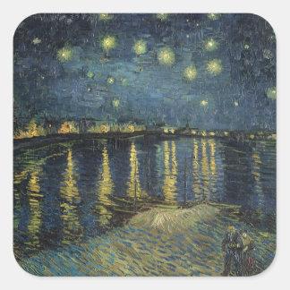 Noche estrellada de Vincent van Gogh el | sobre el Pegatina Cuadrada