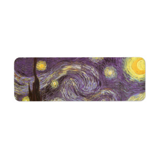 Noche estrellada de Vincent van Gogh Etiqueta De Remite
