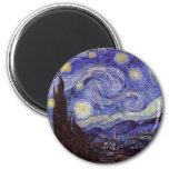 Noche estrellada de Vincent van Gogh Imán Redondo 5 Cm