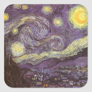 Noche estrellada de Vincent van Gogh Pegatina Cuadradas Personalizada