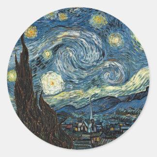 Noche estrellada de Vincent van Gogh Pegatina Redonda