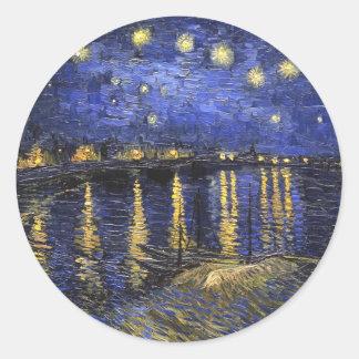 Noche estrellada de Vincent van Gogh sobre el Pegatinas Redondas