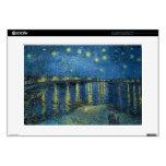 Noche estrellada de Vincent van Gogh sobre el Rhon Calcomanía Para 38,1cm Portátil