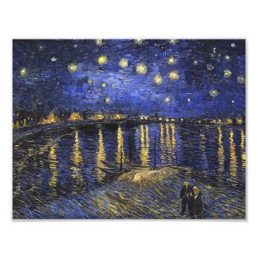 Noche estrellada de Vincent van Gogh sobre el Rhon Impresion Fotografica