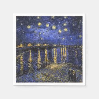 Noche estrellada de Vincent van Gogh sobre el Servilletas Desechables