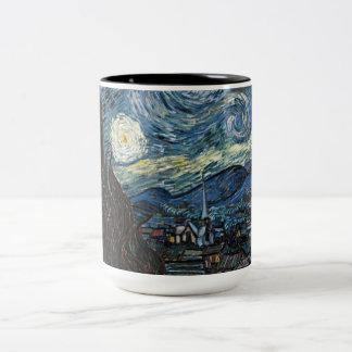 Noche estrellada de Vincent van Gogh Taza De Café De Dos Colores