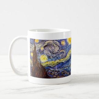 Noche estrellada de Vincent Willem Van Gogh Taza Básica Blanca