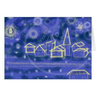 Noche estrellada del invierno tarjeta de felicitación