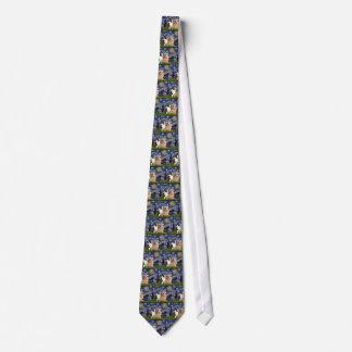 Noche estrellada - dos Corgis Galés (C + P) Corbatas Personalizadas