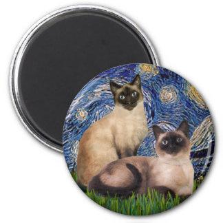 Noche estrellada - dos gatos siameses (Choc pinta) Imán Redondo 5 Cm