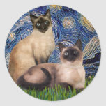 Noche estrellada - dos gatos siameses (Choc pinta) Pegatinas Redondas